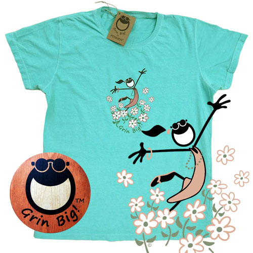 Women's Grin Big! Brand cotton T-shirt featuring Running through the Daisies