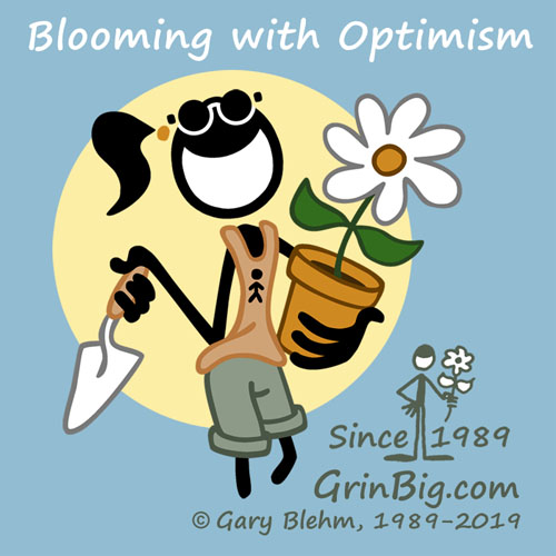 Pengirl  the Optimist is Blooming with Optimism in a Garden of Daisies. This is Optimism #ThisIsOptimism