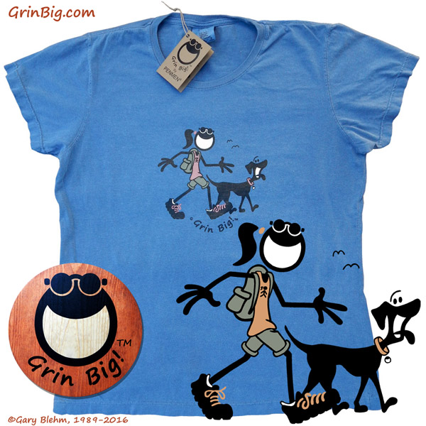 Women's Grin Big! Brand T-Shirt Hiking with Dog